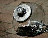 Vintage Look Cookie Jar hand painted, distressed, silver tone w glass knob