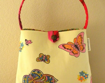 Shoulder Bag - Vintage Canvas Butterflies and Bees - Pink, Orange, Yellow, Blue, Green