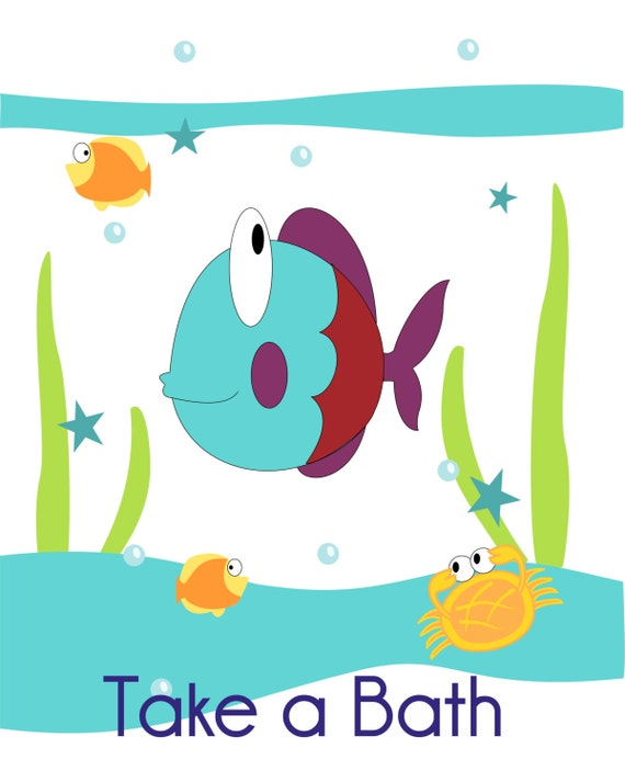 Items Similar To Fish, Turtle And Seahorse Childrenu0027s Wall Art,  Kidu0027s Bathroom, Bathroom
