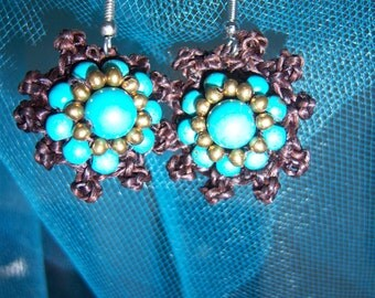 Crochet Dangle Earrings with Turquoise and Gold Beads