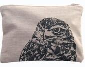 Owl Print Zipped Pouch - handmade organic cotton bag