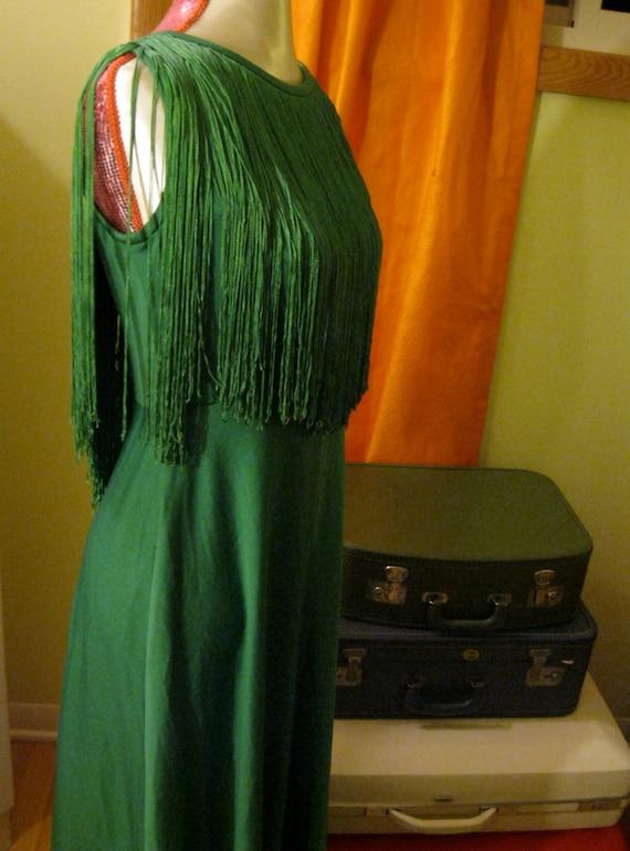 Floor Length Holly Green Fringe Dress