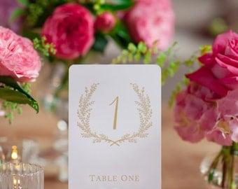Sweet Vintage Wedding Table Number Signs 1-25 - Matte Gold