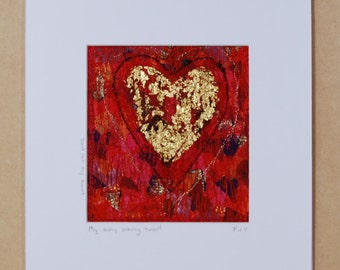 Achy Breaky Heart in Fabric and Thread