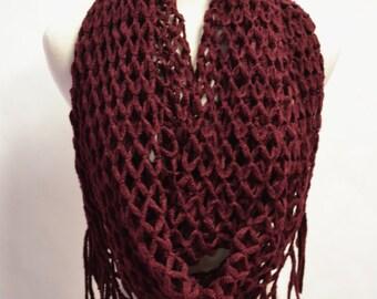 SUPER SALE 18.00 Burgundy Wine Crochet with Tassels Infinity Loop Circle Chunky Scarf Bohemian Scarves, Crochet Scarf