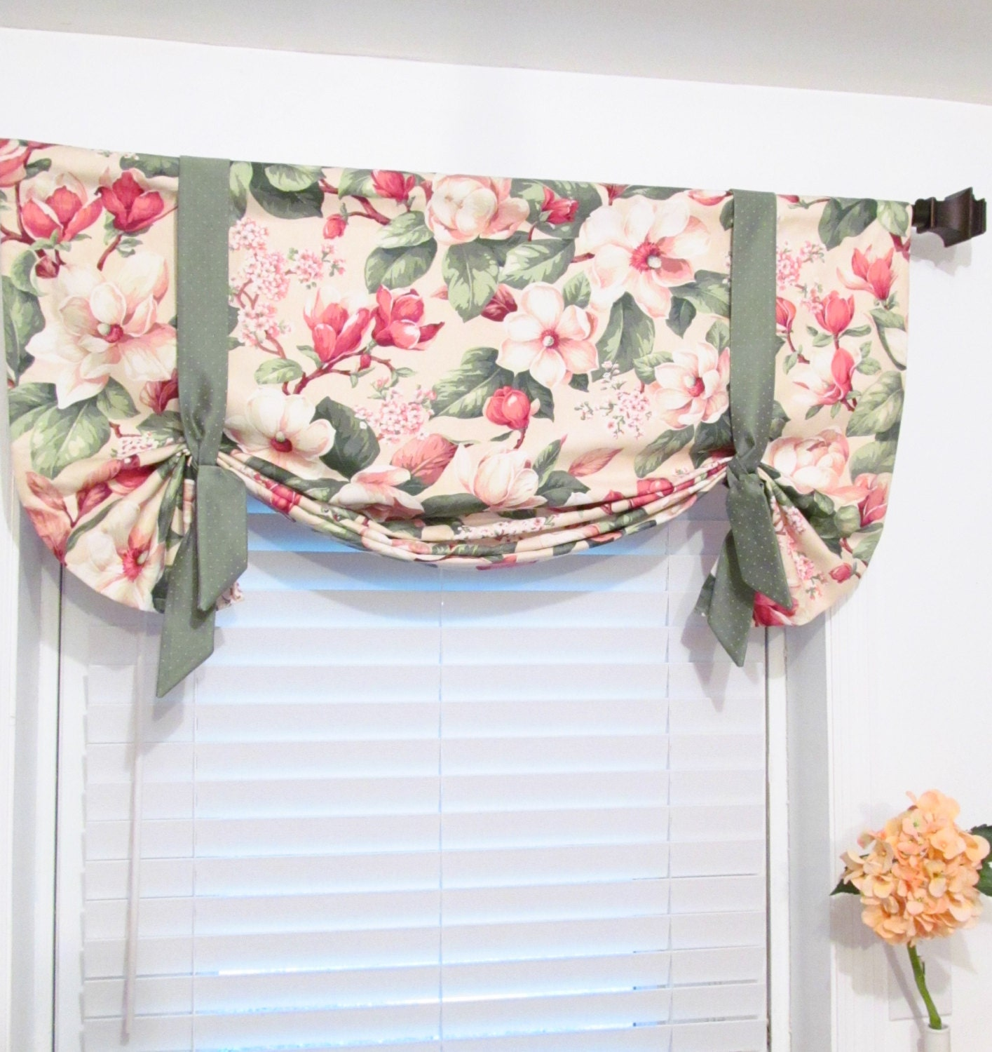 Pink Green Floral Tie Up Curtain Valance By Supplierofdreams