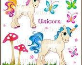 UNICORN Blue - 8 piece clip art set  for personal and commercial use.  Jpeg and Png files.