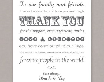 PRINTABLE 8x10 Custom Wedding Thank You Poster - PDF digital file