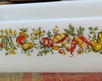 "Lovely Vintage Loaf Pan - Anchor Hocking/Fire-King - ""Nature's Bounty"" Design"
