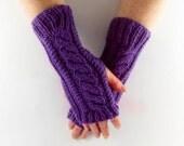 Purple Aran Arm Warmer Gloves with Cable Design Bubblegum Lilac Shade Girly Feminine Sherbet