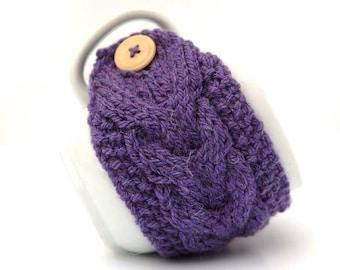 Purple Aran Hand Knit Mug Warmer or Cup Cosy Cozy. Bubblegum Lilac Shade Girly Feminine Sherbet