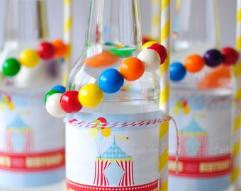 Circus Carnival Themed Birthday Party Drink Labels