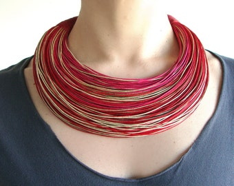 Statement Fiber Necklace, Cotton Necklace, African Jewelry, Trending Necklace, Bold Necklace