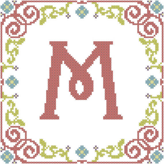 Cross Stitch Border Pattern Floral Vine for Square Area - Your Custom Text
