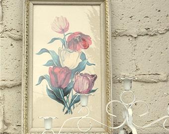 Vintage Luthy Print,  1950s-1960s Framed Floral Print