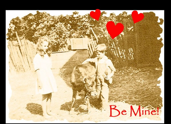 Sending Hugs, Children and Calf Vintage Photo Greeting Card Personalized for Your Occasion