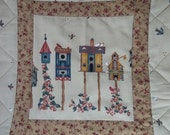 Birdhouse  Table  Topper in Earth Tones, Candle Mat, Wall hanging