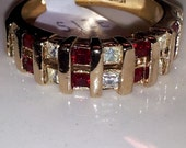 Vintage Ladies 18KTGE Ruby Red & Diamond CZ Channel Band Ring Size 8 USA Made