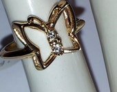 Vintage Ladies 18KHGE Butterfly Ring New USA Mad