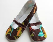 Womens Fabric Slippers - Mary Janes - Slip on Indoor Shoes - Custom Womens Slippers - Gift for Her