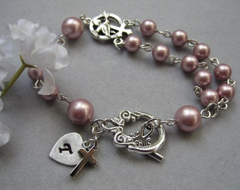 Rosary Bracelet, Swarovski pearl, Tiny Silver Cross, Personalized, Initial heart charm, Baptism Gift, Confirmation Gift, Religious gift