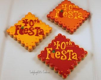 12 Fiesta cookies, handmade & iced