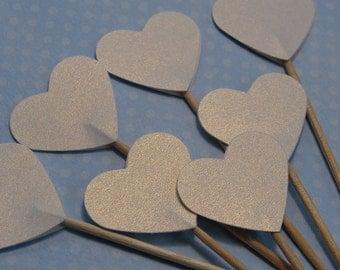 24 White Metallic Shimmer Heart Cupcake Toppers - Food Picks - Party Picks