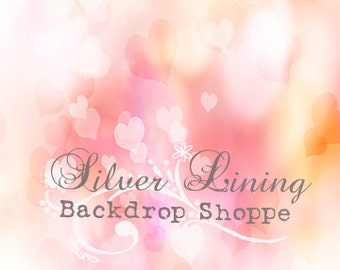 NEW Item 5ft x 5ft Vinyl Photography Backdrop / Love / Heart Bokeh VALENTINES DAY