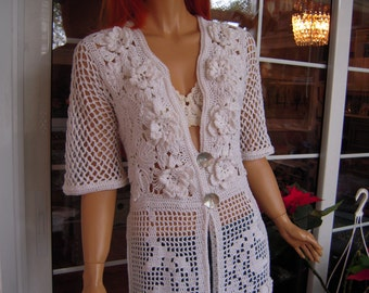 cardigan/eco friendly handmade crochet romantic sweater in natural white cotton for her ready to ship size M/L OOAK by golden yarn