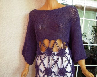 MADE TO ORDER Handmade knitted dress/crochet lace sweater in purple cotton made to order in any color for her by golden yarn
