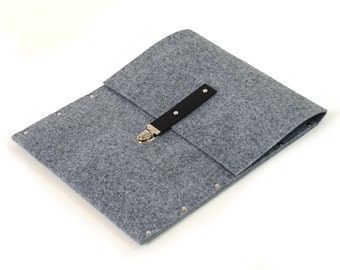 MacBook Air 13 inch Sleeve, Case, Cover, grey synthetic felt black leather straps handmade by SleeWay