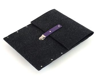 MacBook 13 Retina case black sleeve felt briefcase cover violet leather