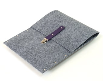 MacBook Pro 15 sleeve case grey synthetic felt briefcase cover with violet leather strap handmade by SleeWay