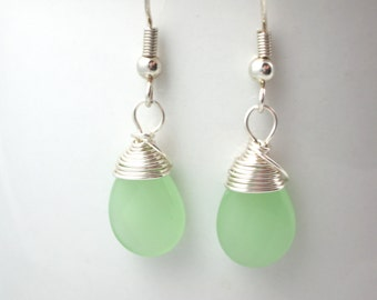 sea foam green earrings silver wire wrapped faceted opaque glass teardrop beads bridesmaids green wedding jewelry