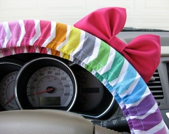 Steering Wheel Cover Bow, Excited Rainbow Chevron Steering Wheel Cover with Hot Pink Bow, Pink Rainbow Chevron Wheel Cover Pink Bow BF11142