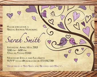 Bridal Shower Invitation,Love Birds and Hearts Bridal Shower Invitation,Purple, Pink, Blue, Birds in Love, Brown, 5110