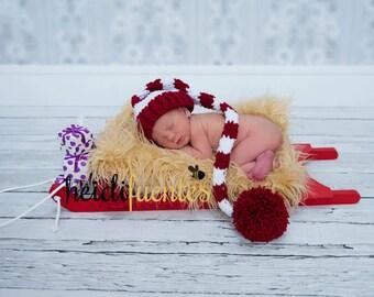 Newborn Santa Hat, Burgundy And White Hat, Newborn Photo Prop, Red And White Hat, Newborn Christmas Hat, Infant Santa Hat, Baby Pom Pom Hat