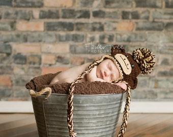 Newborn Sock Monkey, Newborn Photo Prop, Sock Monkey Hat, Hat With Earflaps, Baby Monkey Hat, Brown Infant Hat, Crochet Baby Hat,Newborn Hat