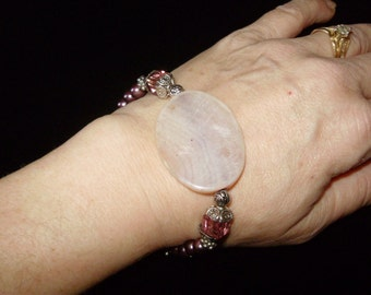Stones and Swarovski Pearls of Peace Bracelet
