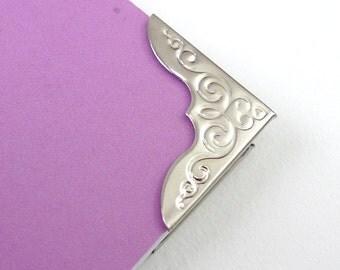 20 Large Vintage Nickel Silver Metal Book Corners - Bookbinding - Scrapbooking - Photo Album - Diary - Journal