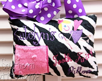 Tooth Fairy Pillow for Girls Minky  Zebra Personalized Great Gift Girl Easter Gift