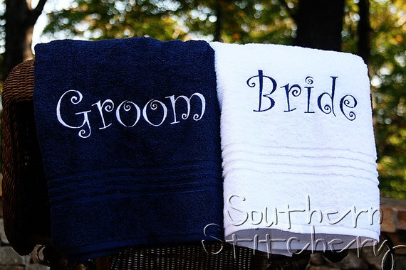 Bride And Groom Towel Set Personalized Bath Towel Couple