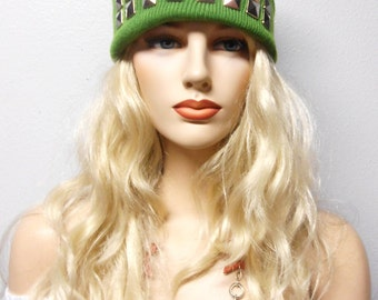 Soft Pea Green  Beanie with Silver Studs