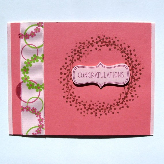 Congratulations New Baby Girl Baby Shower Card By CardstockEquine