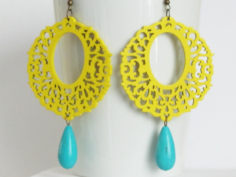 yellow earrings neon earrings jewelry by