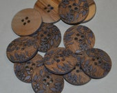 "Buttons, natural wood, laser etched blue floral design, 3/4"", made in France"