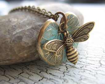 Verdigris lotus And Bee Necklace