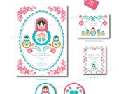 Sweet Matryoshka Florals Party Printables