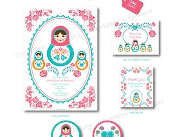 Sweet Matryoshka Florals Party Printables