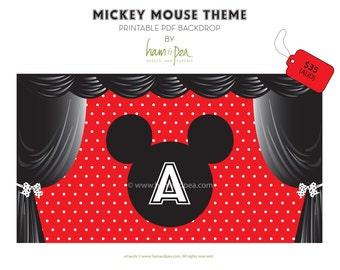 Mickey Mouse Theme backdrop (printable file)